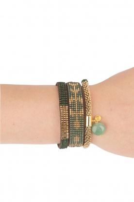 Tembi | Leren armband met kralen Isa Arro | groen