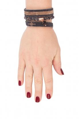 Tembi | Leren armband Diamond Center (M) | blauw