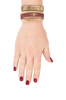 Tembi | Leren armband Diamond Center (M) | bordeaux