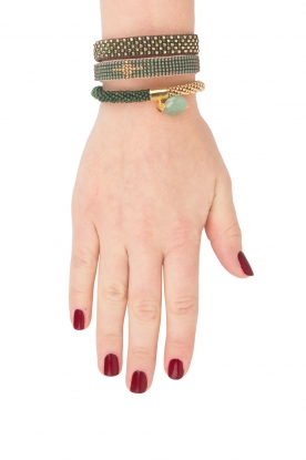 Tembi | Leren armband Diamond Center (M) | groen
