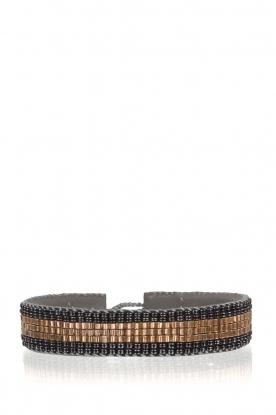 Tembi | Leren armband met kralen Bamboo Border | blauw