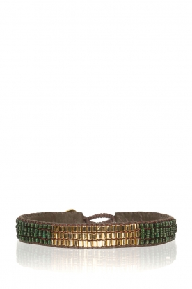 Tembi |  Leather bracelet with beads Mini Block | green