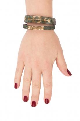 Tembi | Leren armband met kralen Mini Block | groen