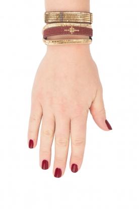 Tembi | Leren armband met kralen Mesh | goud