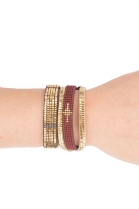 Tembi |  Leather bracelet with beads Mesh | gold