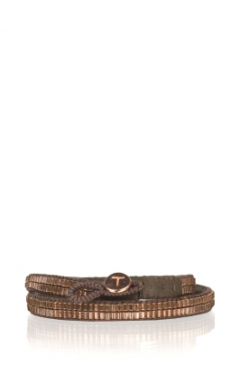 Tembi | Leren armband met kralen Wrap Bamboo | rosegoud