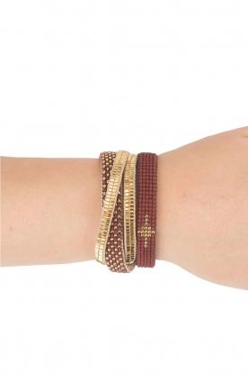 Tembi | Leren armband met kralen Wrap Bamboo | goud