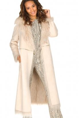 ELISABETTA FRANCHI | Tweezijdige faux fur jas Franca | Naturel