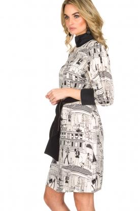 ELISABETTA FRANCHI | Jurk met getekende print Velia | Zwart wit
