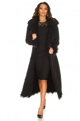 ELISABETTA FRANCHI | Tweezijdige faux fur jas Franca | Zwart
