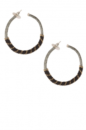 Tembi |  Earrings with beads Snake | black