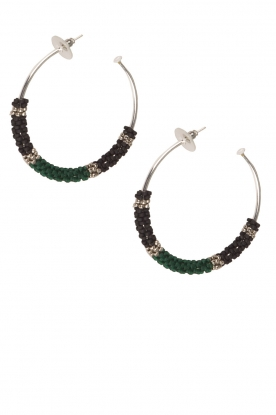 Tembi |  Earrings with beads Beaded Large | green