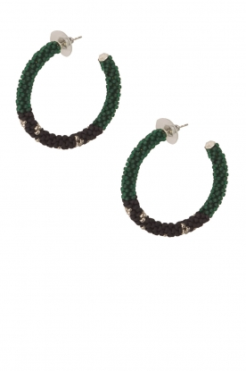 Tembi |  Earrings of beads Beaded Small | green
