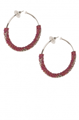 Tembi |  Earrings with beads Beaded Large | red