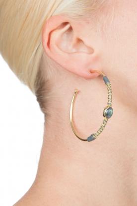 Tembi | Oorbellen met steen Stone Hoop | goud