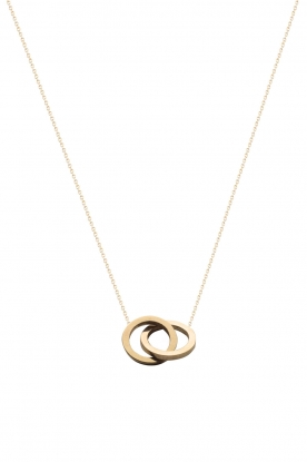 Just Franky |  14kt golden necklace Iconic Double Open Circle 40 cm | gold