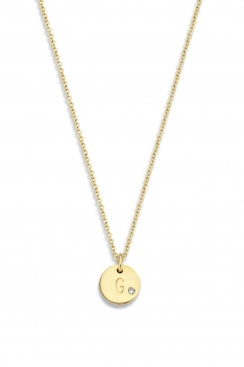 Just Franky |  14k golden necklace Coin Diamond 43 cm | yellow gold
