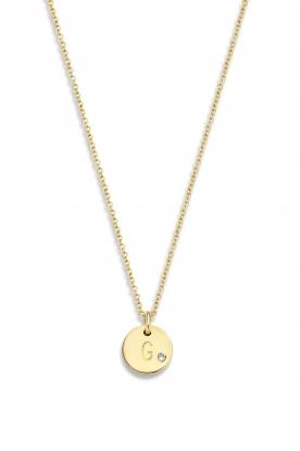 Just Franky | 14k gouden ketting Coin Diamond 43 cm | geelgoud