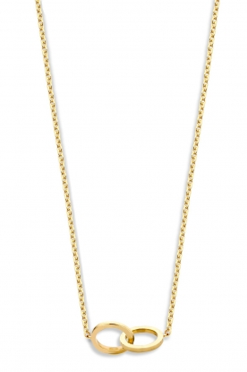 Just Franky |  14k golden necklace Iconic Double Open Circle 43 cm | yellow go