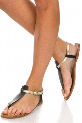 Maluo |  Leather sandals Mace | black