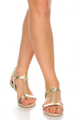 Maluo | Leren sandalen Megan | goud