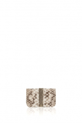 Tembi |  Leather cardholder Snake | white