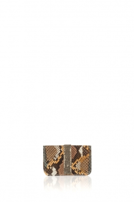 Tembi |  Leather cardholder Snake | brown