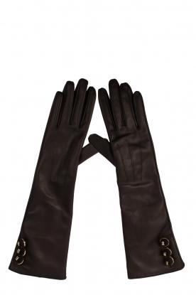 ELISABETTA FRANCHI | Lange leren handschoenen Fay | zwart