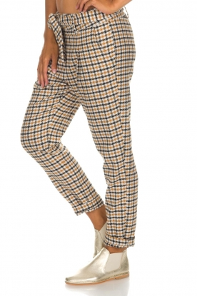Aaiko | Geruite pantalon Checks | camel