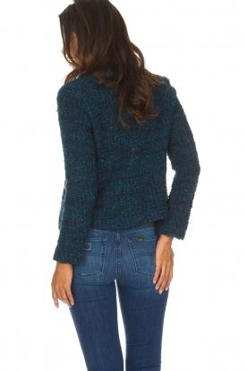 Set   Bouclé vest Valeine   blauw