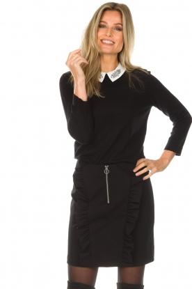 Set | Fijngebreide trui met blousekraag Jules | zwart