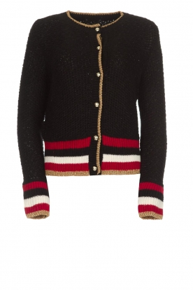 Set |  Knitted cardigan with glitter details Emelie | black
