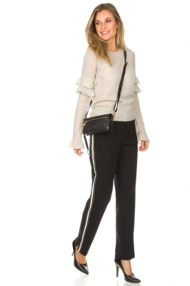 Set |  Sporty trousers with side stripe Lina | black
