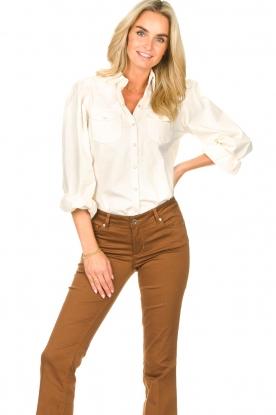 Dante 6 | Denim blouse met pofmouwen Percey | naturel