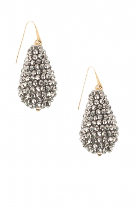 Miccy's |  Earrings big crystal Drop | Silver