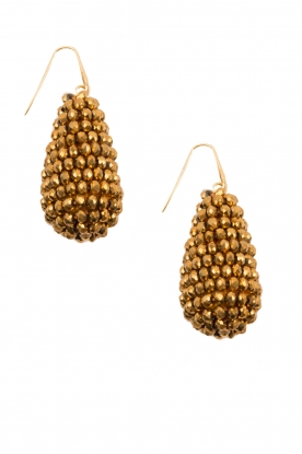 Miccy's |  Earrings big crystal Drop | Gold