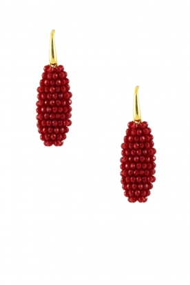 Miccy's |  Earrings crystal Oval | Red