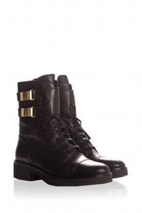 What For | Leren laarzen Kirsten | zwart