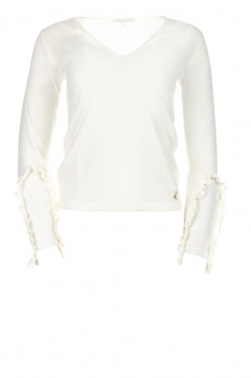 Patrizia Pepe |  Sweater with ruffles and mesh detail Felicia | black