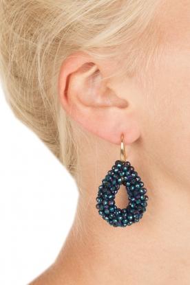 Miccy's | Oorbellen Open Crystal Drops | blauw