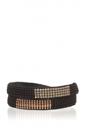 Tembi |  Leather bracelet with beads Double Wrap | black