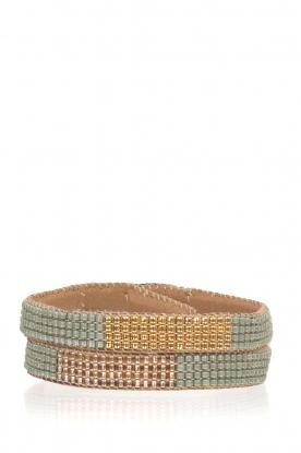 Tembi | Leren armband met kralen Double Wrap | groen