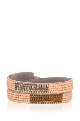 Tembi |  Leather bracelet with beads Double Wrap | nude