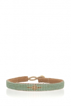 Tembi | Leren armband Diamond Center (S) | groen