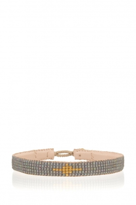 Tembi | Leren armband Diamond Center (S) | grijs