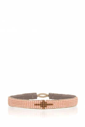 Tembi | Leren armband Diamond Center (S) | nude