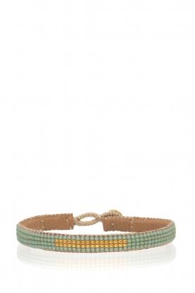 Tembi | Leren armband met kralen Bar | groen