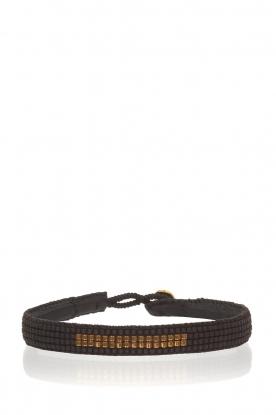 Tembi | Leren armband met kralen Bar | black