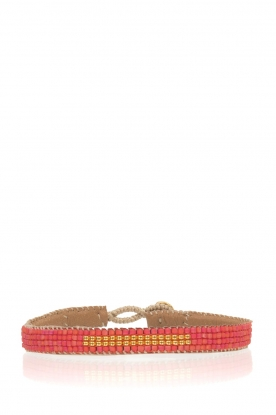 Tembi |  Leather bracelet with beads Bar | red