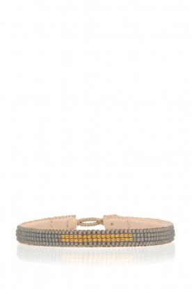 Tembi | Leren armband met kralen Bar | grijs